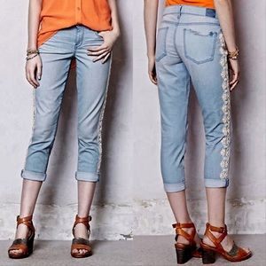 Anthro Holding Horses Crochet Lace Crop Jeans 29